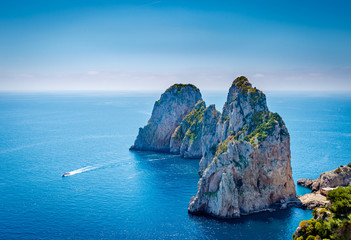 View of famous Faraglioni Rocks in  Capri island, Italy.