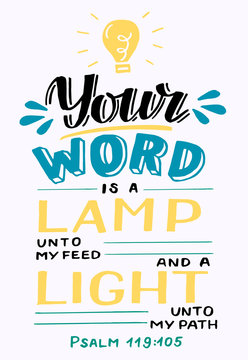 Hand lettering Your word is a lamp unto my feed.