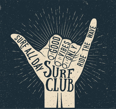 Surf shaka hand gesture silhouette on dark background. Summer time surfing themed vintage styled vector illustration