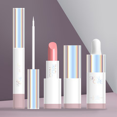 Vector Holographic Beauty or Cosmetics Packaging Set with White Eyeliner, Lipstick & Dropper Bottle