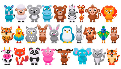 Collection of cute cartoon animals. Vector illustration.