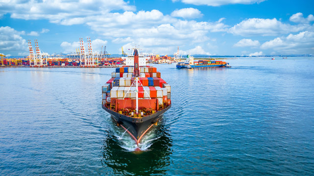 Container cargo ship  import export global business worldwide logistic and transportation, Container ship supply chain crisis, logistic crisis, Aerial view container cargo vessel boat freight ship.