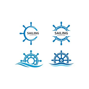 ship steering for sailing logo vector icon illustration template