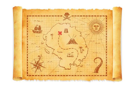 Old pirate treasure map vector illustration