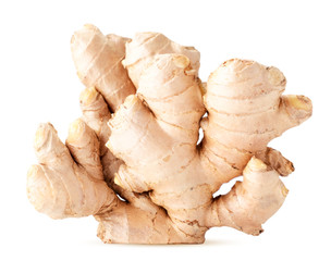 Ginger root stands on a white background. Isolated