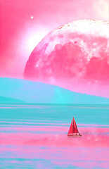 Wall Murals Candy pink Landscape of an alien planet book cover proportions - huge pink moon reflects in calm ocean water - digital illustration. Elements of this image are furnished by NASA