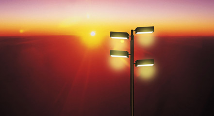 Lighting system led on a technology steel pole on a natural sky background Fotomurales