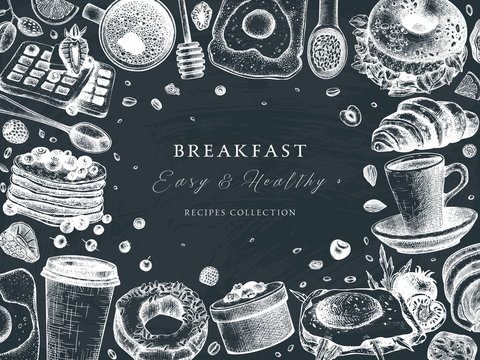 Breakfast table top view frame on chalk board. Morning food menu vector template. Breakfasts and brunches dishes background. Vintage hand drawn food sketches.