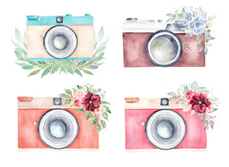 Vintage camera and floral bouquets watercolor set. Handmade clipart isolated on white background.