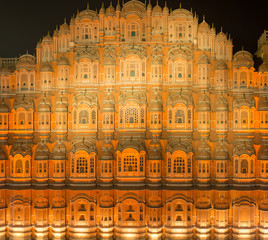 Jaipur, India - December 29 2018: HDR Hawa Mahal with lights on in the evening in Jaipur, Rajasthan, India