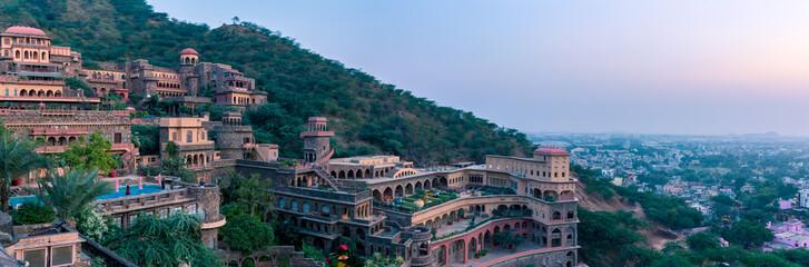 Neemrana, India - November 3 2018: Neemrana Fort Palace panorama in Neemrana Rajasthan India