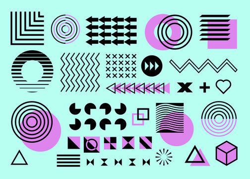 Memphis set, collection of design elements.Isolated on cyan background. Flat design black and purple, arrows, circles, zigzag, waves, triangles squares.