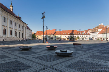 Empty Great Square in Sibiu on a beautiful spring afternoon.