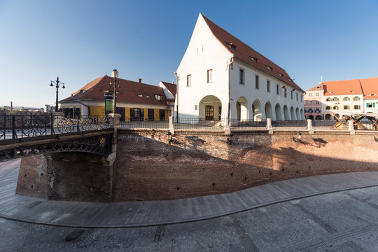 Small Square in Sibiu on a beautiful spring afternoon.