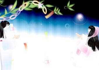 七夕の笹飾りと織姫に彦星出会いの天の川のイラスト横スタイル背景素材