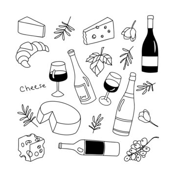 Vector wine set. Line art icon illustration. Drink and food. Isolated white backdround. For icon and logo.