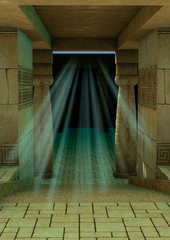 Fantasy scene of an old and empty Egyptian temple.