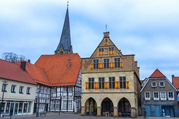Gebäude am Marktplatz in der historischen Altstadt von Werne an der Lippe