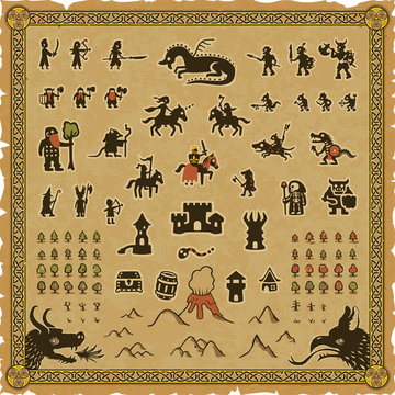 RPG map elements set that includes a frame, various medieval fantasy icons and a square parchment background.
