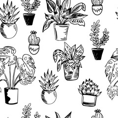Vector seamless pattern with house plants in pots in black and white colors.