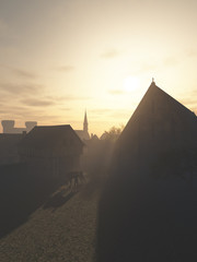 Wall Mural - Illustration of the entrance to a European Medieval town, with gatehouse and tithe barn in bright early morning light, 3d digitally rendered illustration