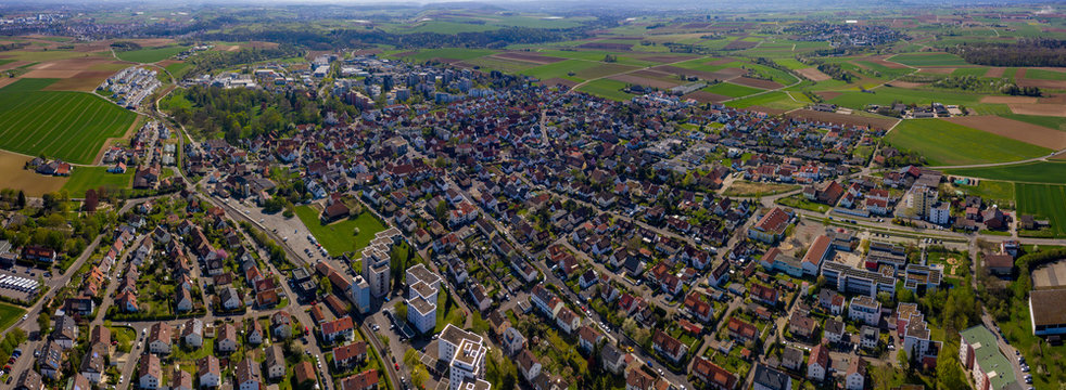 Aerial view of the city Hemmingen in Germany on a sunny day in early spring