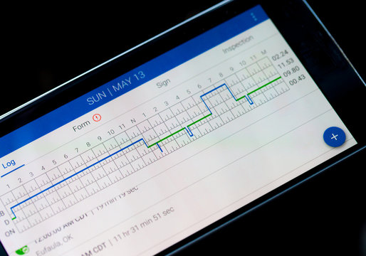 Electronic logging device for trucking industry with hours of service displayed on smarthphone screen