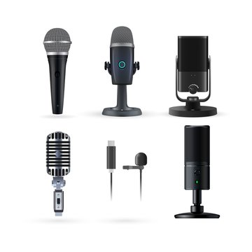 Microphone isolated. Realistic radio and music microphone vector set. Modern karaoke microphone and radio mic stand on white background. Music media entertaiment and audio professional voice equipment
