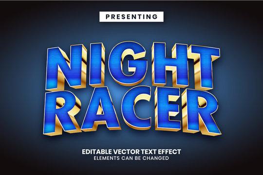 Night racer - Superhero movie logo style editable text effect
