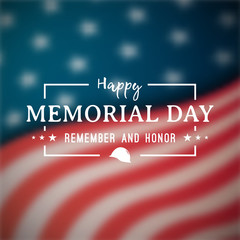 Happy Memorial Day banner. National american holiday. Blurry american flag. Vector background.