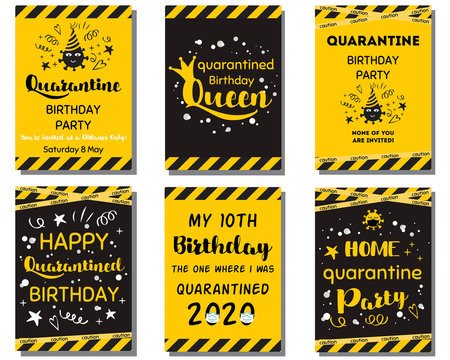 Quarantine Birthday set Home party invitation Yellow black Birthday cards Funny text. Home online party banner Vector