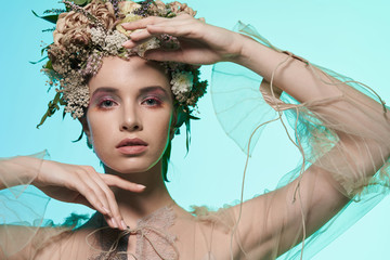 Stores photo womenART Fashion art photo of beautiful lady in flower diadem.