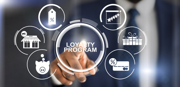 Collage with businessman pressing loyalty program button on virtual screen, panorama