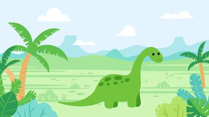 Cute diplodocus dinosaur in prehistoric landscape