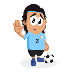 Uruguay mascot and background goodbye pose with flat design style for your logo or mascot branding