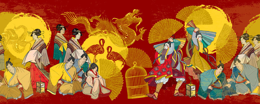 Japanese horizontal seamless pattern. Golden dragon, sun, samurai and geishas. Classical engraving art. Asian culture. Oriental art. Kabuki actors. Medieval ancient Japan background