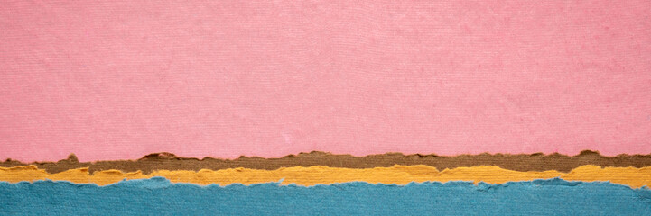 pink sunset abstract landscape created with handmade Indian paper