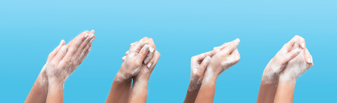 Millennial girl showing steps of effective handwashing on blue background, collage. Panorama