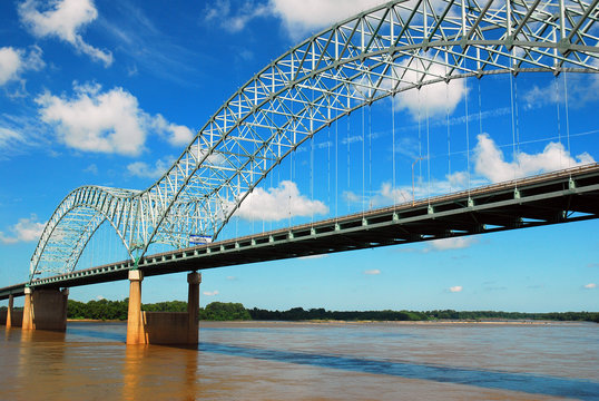 The DeSoto Bridge Spans the Mississippi River, Connecting Arkansas with Memphis Tennessee