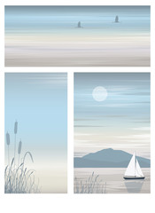 Set vector illustration of a beautiful seascape with a sailboat.