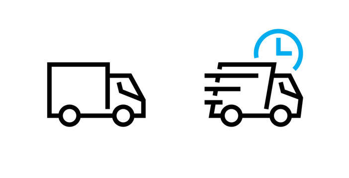 Set fast shipping delivery truck icons. Editable Line Vector.