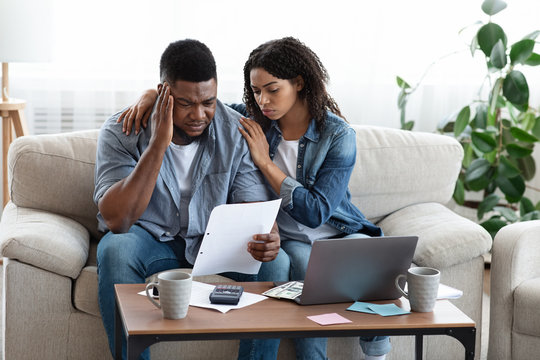 Family Financial Crisis. Depressed Black Couple Not Able To Pay Bills