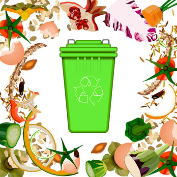 Composting pile of rotting kitchen fruits and vegetable scraps garbage waste