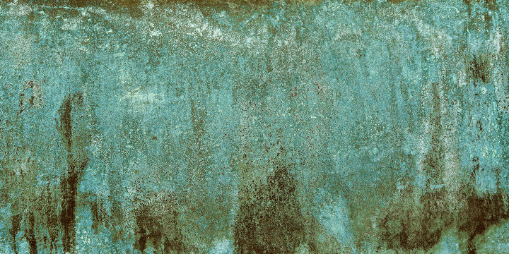 Old Green Corrosion Surface. Green Rust Grunge Sheets Of Metal. Oxidized Bronze Covered By Rust And Corrosion.