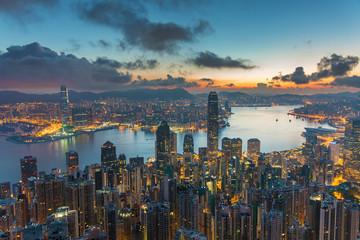 Victoria harbor of Hong Kong city at dawn Fotomurales