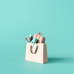 Fashion accessories bag, high heels, lipstick in bag shopping. 3d rendering