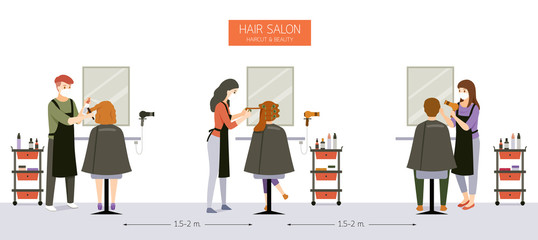 Interior Decoration of Hair Salon, Beauty salon, Barber Shop With Customer, Hairdresser, Furniture And Equipments Wall mural