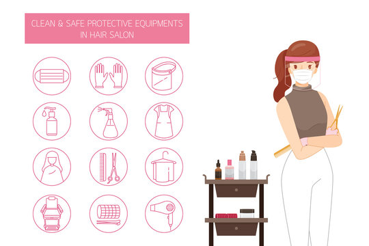 Female Hairdresser Wearing Mask And Face Shield, With Clean And Safe Protective Equipments in Hair Salon, Outline Icons Set