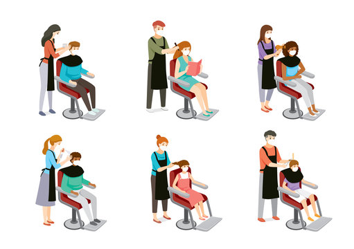 Set Of Hairdresser Doing Hair Of Customers, Man, Woman, Boy And Girl, Hairdressing Equipments