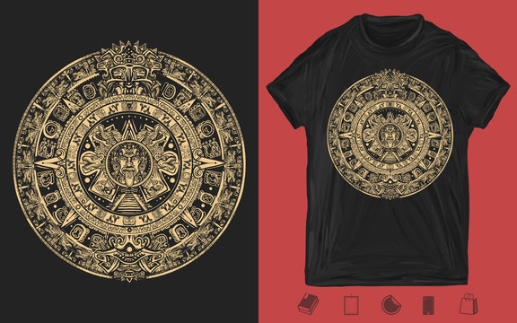 Aztec sun stone. Mayan calendar. Ancient hieroglyph signs and symbols. Mexican mesoamerican monolith. One color creative print for dark clothes. T-shirt design. Template for posters, textiles